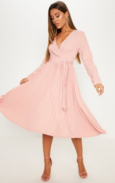 PrettyLittleThing long sleeve pleated midi dress in rose