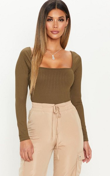 PrettyLittleThing long sleeve square neck rib top in khaki