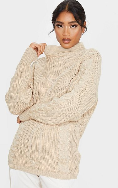 PrettyLittleThing longline roll neck cable front sweater in stone
