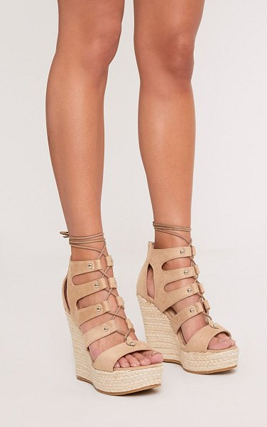 PrettyLittleThing louisella lace up wedges in nude