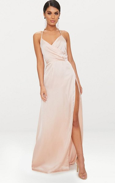 PrettyLittleThing lucie silky plunge extreme split maxi dress in champagne