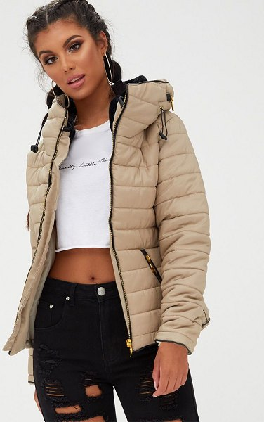 PrettyLittleThing mara puffer jacket in stone