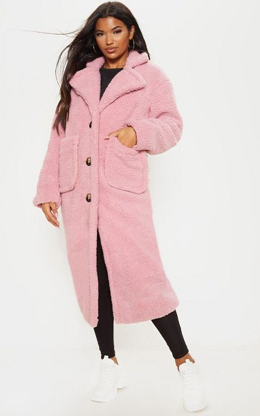 PrettyLittleThing maxi borg coat in rose