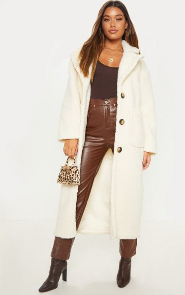 PrettyLittleThing maxi borg coat in cream