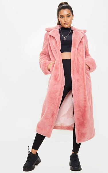 PrettyLittleThing maxi faux fur coat in pink