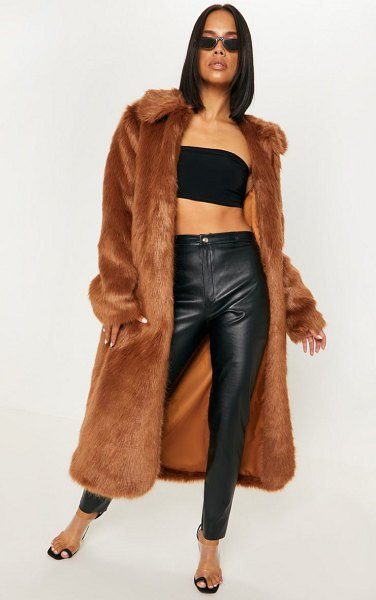 PrettyLittleThing maxi faux fur coat in brown