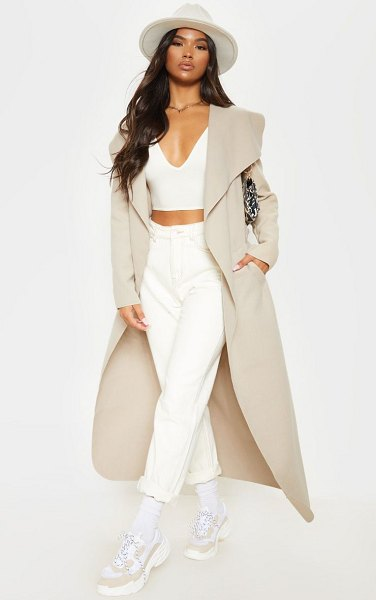 PrettyLittleThing maxi length oversized waterfall belted coat in stone