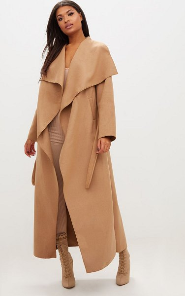 PrettyLittleThing maxi length oversized waterfall belted coat in camel - In a soft camel material with a waterfall front belted...