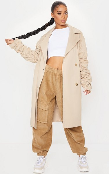 PrettyLittleThing maxi ruched sleeved trench coat in camel