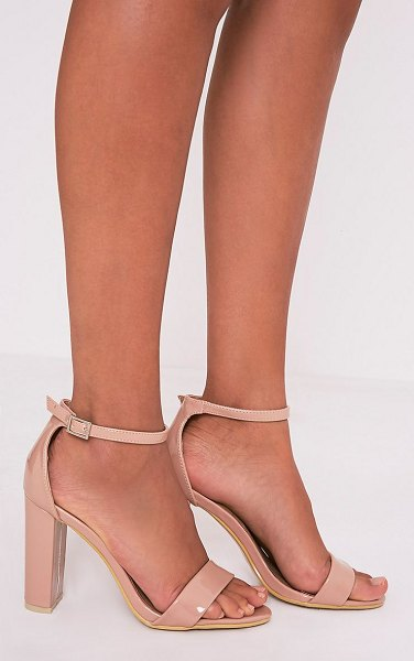PrettyLittleThing may patent block heeled sandals in nude - Nude Patent Strap Heeled Sandals nFashion is seriously...