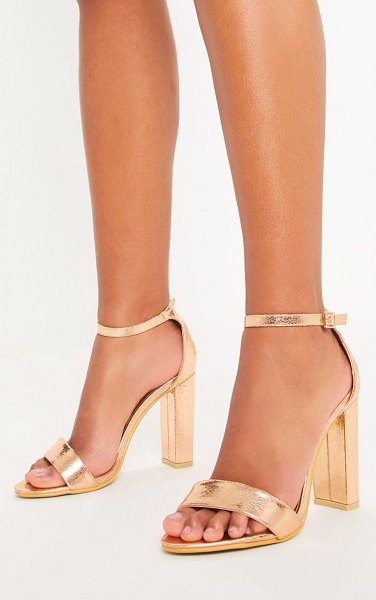 PrettyLittleThing may rose gold block heeled sandals in rose gold