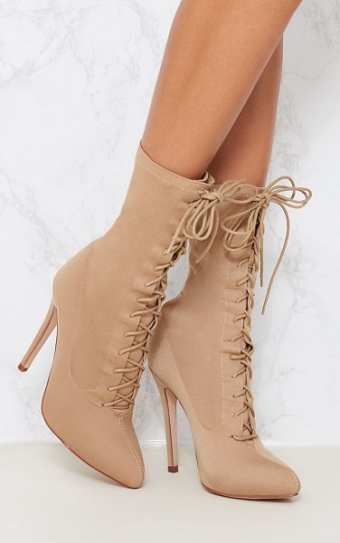 PrettyLittleThing mazy lace up sock boots in nude