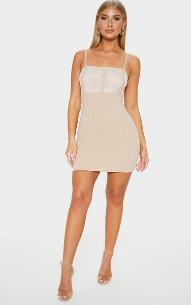 PrettyLittleThing mesh panelled insert bodycon dress in stone - Step out in neutral tones this season with this bodycon...