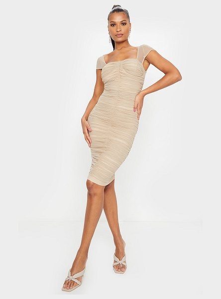 PrettyLittleThing mesh ruched midi dress in stone