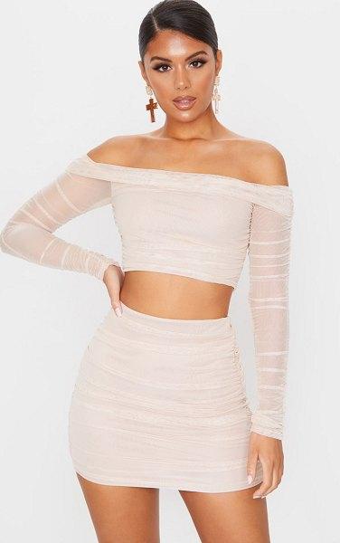 PrettyLittleThing mesh ruched side skirt in nude