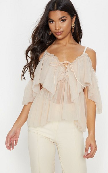 PrettyLittleThing mesh ruffle blouse in nude