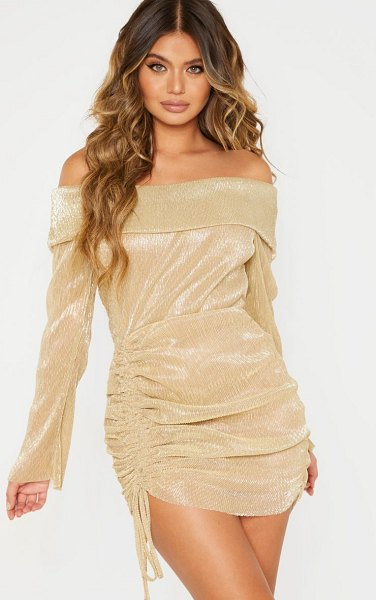 PrettyLittleThing metallic plisse bardot ruched bodycon dress in gold