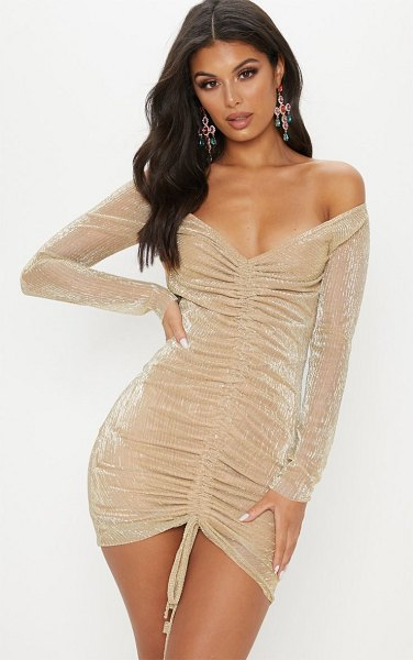 PrettyLittleThing metallic plisse ruched front bardot bodycon dress in gold