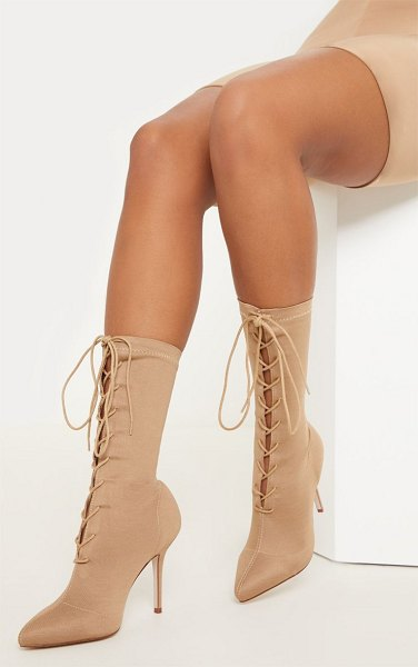PrettyLittleThing mid heel lace up ankle boot in nude
