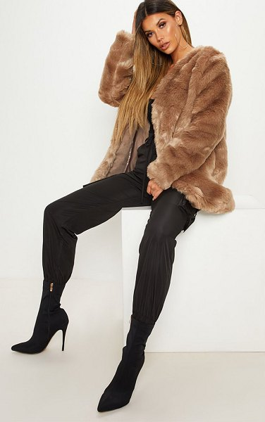 PrettyLittleThing midi faux fur coat in brown