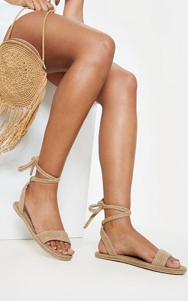 PrettyLittleThing natural espadrille lace up sandal in nude
