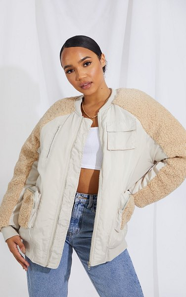 PrettyLittleThing nylon contrast borg pocket front coat in stone