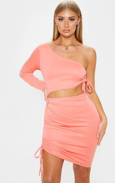 PrettyLittleThing one shoulder cut out ruched bodycon dress in coral