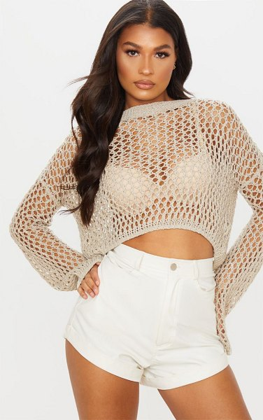 PrettyLittleThing open knit cropped sweater in stone