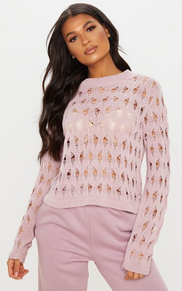 PrettyLittleThing open knit ladder detail jumper in blush