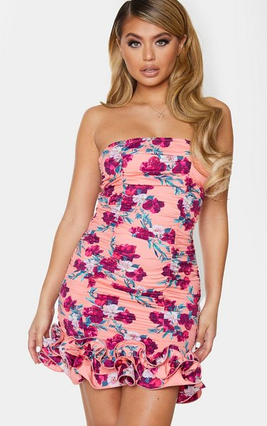 PrettyLittleThing orange floral woven ruffle frill hem bandeau bodycon dress in peach