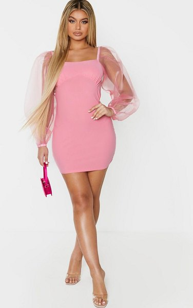 PrettyLittleThing organza sleeve cup detail bodycon dress in pink