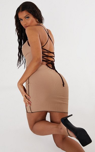 PrettyLittleThing overlock stitch lace up back bodycon dress in stone