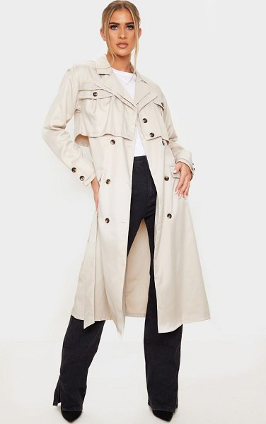 PrettyLittleThing oversized belted trench coat in stone