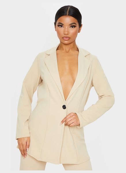 PrettyLittleThing oversized fitted blazer in stone