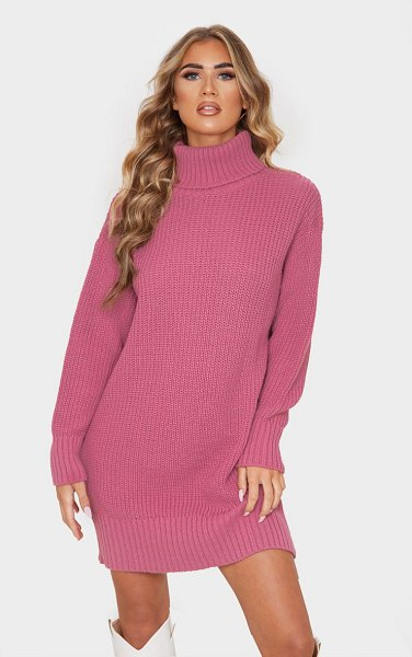 PrettyLittleThing oversized high neck knitted sweater dress in rose