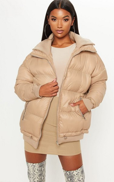 PrettyLittleThing oversized puffer in stone - This oversized puffer is essential for your new AW...