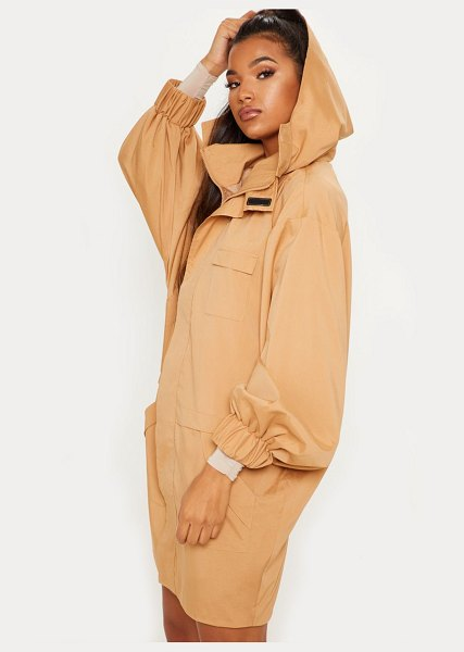 PrettyLittleThing oversized sports mac in camel - This camel sports mac is perfect for those rainy off...