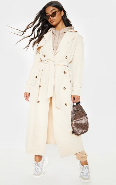 PrettyLittleThing oversized trench coat in stone