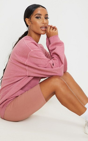 PrettyLittleThing oversized washed sweater in rose