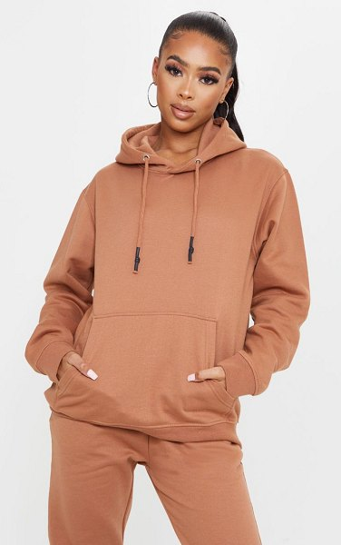 PrettyLittleThing oversized wax toggle hoodie in tan