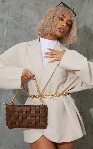PrettyLittleThing oversized weave with gold chain shoulder bag in chocolate
