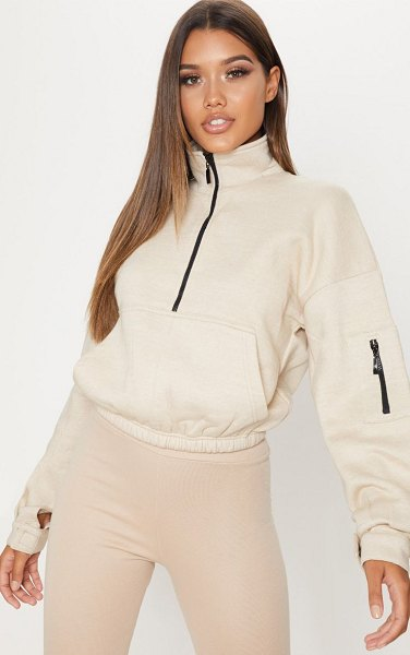 PrettyLittleThing oversized zip front sweater in sand