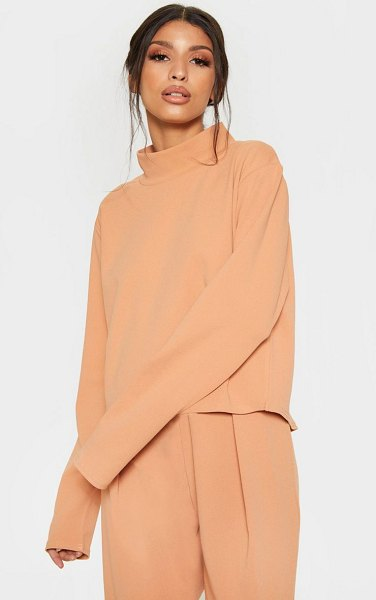 PrettyLittleThing pale high neck long sleeve sweater in tan - Keep it simple this season in this chic top Featuring a...