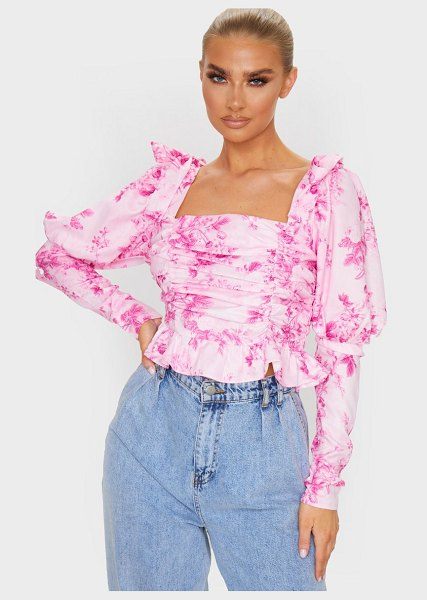 PrettyLittleThing pastel pink woven floral sheer ruched puff sleeve cropped blouse in pastel pink