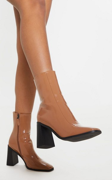 PrettyLittleThing patent square toe block heel ankle boot in taupe