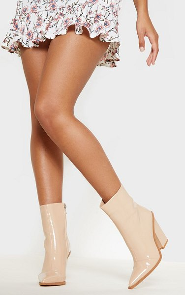 PrettyLittleThing patent western ankle boot in nude