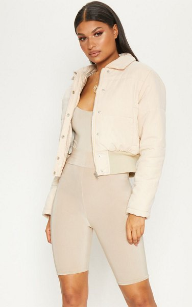 PrettyLittleThing peach skin cropped puffer jacket in beige