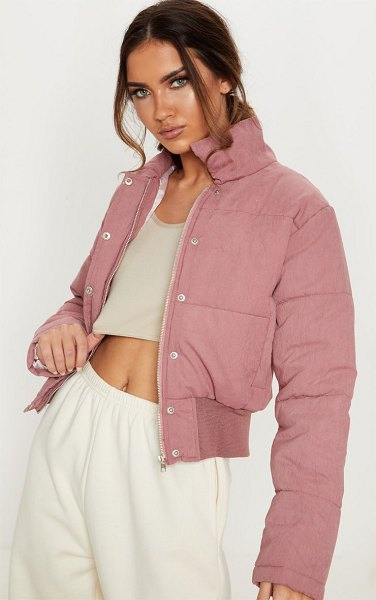 PrettyLittleThing peach skin cropped puffer jacket in pink