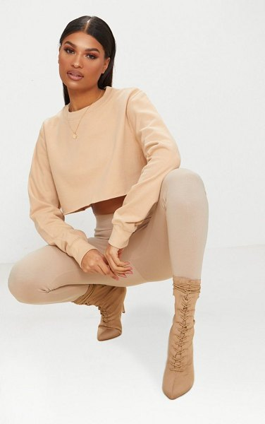 PrettyLittleThing peach ultimate cropped sweater in beige