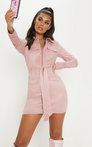 PrettyLittleThing pink faux suede pocket detail bodycon dress in rose - Get the ultimate versatile day to night look in this...
